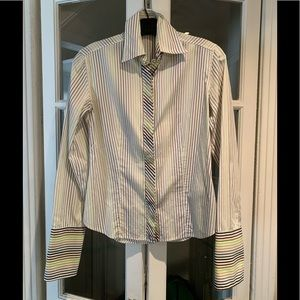 Burberry London long sleeve striped blouse. Size S